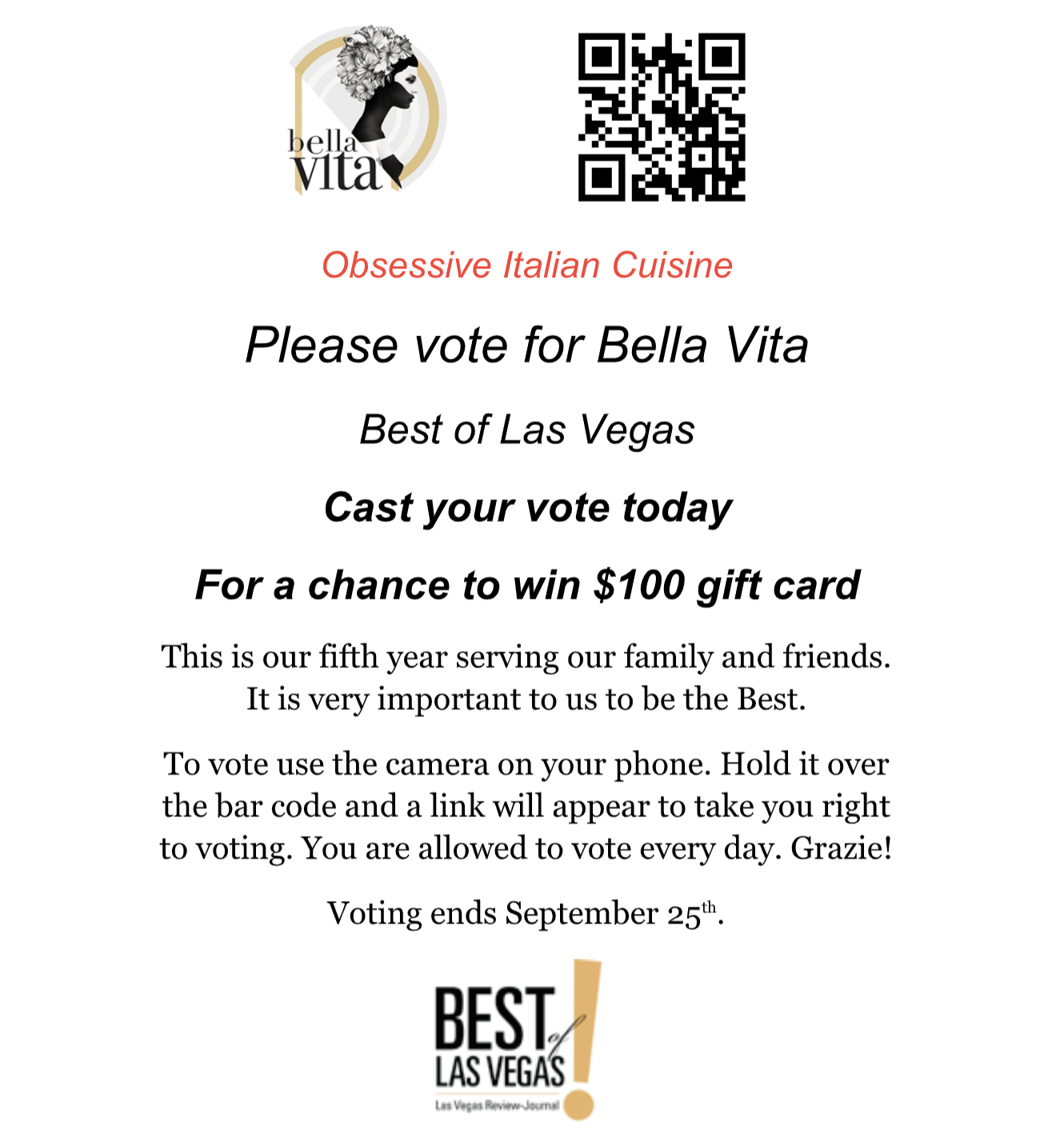vote for bella vita in best of las vegas